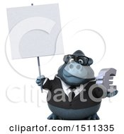 Clipart Of A 3d Gorilla Mascot Holding A Euro On A White Background Royalty Free Illustration