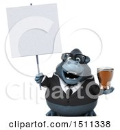 Clipart Of A 3d Gorilla Mascot Holding A Beer On A White Background Royalty Free Illustration