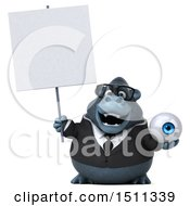 Clipart Of A 3d Gorilla Mascot Holding An Eye On A White Background Royalty Free Illustration