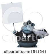 Clipart Of A 3d Gorilla Mascot Holding A Plane On A White Background Royalty Free Illustration