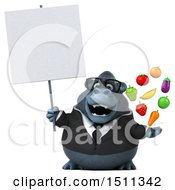 Clipart Of A 3d Gorilla Mascot Holding Produce On A White Background Royalty Free Illustration