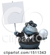 Clipart Of A 3d Gorilla Mascot Holding A Golf Ball On A White Background Royalty Free Illustration