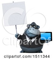 Clipart Of A 3d Gorilla Mascot Holding A Tablet On A White Background Royalty Free Illustration