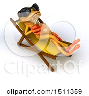 Poster, Art Print Of 3d Yellow Frog Relaxing And Shipping A Drink On A White Background