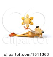 3d Yellow Frog Holding A Sun On A White Background