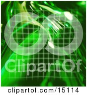 Square Green Grid And Reflections Of Light Clipart Illustration