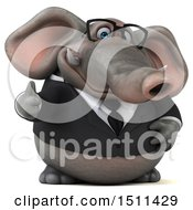 Clipart Of A 3d Business Elephant Holding A Thumb Up On A White Background Royalty Free Illustration