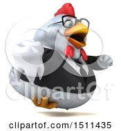 Clipart Of A 3d Chubby White Business Chicken Holding A Tooth On A White Background Royalty Free Illustration