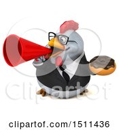 Clipart Of A 3d Chubby White Business Chicken Holding A Donut On A White Background Royalty Free Illustration