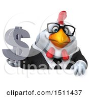 Clipart Of A 3d Chubby White Business Chicken Holding A Dollar Sign On A White Background Royalty Free Illustration
