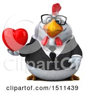 Clipart Of A 3d Chubby White Business Chicken Holding A Heart On A White Background Royalty Free Illustration