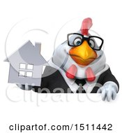 Clipart Of A 3d Chubby White Business Chicken Holding A House On A White Background Royalty Free Illustration