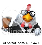 Clipart Of A 3d Chubby White Business Chicken Holding A Beer On A White Background Royalty Free Illustration
