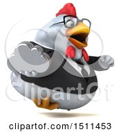 Clipart Of A 3d Chubby White Business Chicken Holding A Cloud On A White Background Royalty Free Illustration