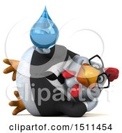 Clipart Of A 3d Chubby White Business Chicken Holding A Water Drop On A White Background Royalty Free Illustration