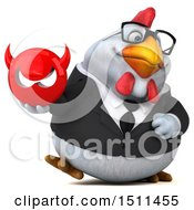 Clipart Of A 3d Chubby White Business Chicken Holding A Devil On A White Background Royalty Free Illustration
