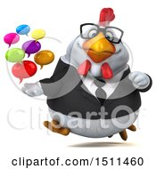 3d Chubby White Business Chicken Holding Messages On A White Background