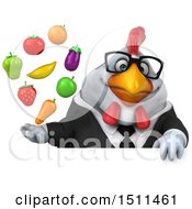 Clipart Of A 3d Chubby White Business Chicken Holding Produce On A White Background Royalty Free Illustration