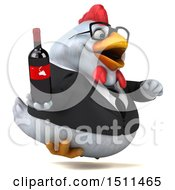 Clipart Of A 3d Chubby White Business Chicken Holding A Wine Bottle On A White Background Royalty Free Illustration