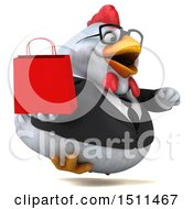 Clipart Of A 3d Chubby White Business Chicken Holding A Shopping Bag On A White Background Royalty Free Illustration
