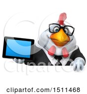 Clipart Of A 3d Chubby White Business Chicken Holding A Tablet On A White Background Royalty Free Illustration