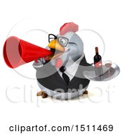 Clipart Of A 3d Chubby White Business Chicken Holding A Wine Tray On A White Background Royalty Free Illustration