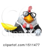 Clipart Of A 3d Chubby White Business Chicken Holding A Banana On A White Background Royalty Free Illustration