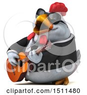3d Chubby White Business Chicken Playing A Guitar On A White Background
