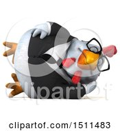 Clipart Of A 3d Chubby White Business Chicken Resting On A White Background Royalty Free Illustration