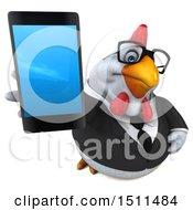 3d Chubby White Business Chicken Holding A Smart Phone On A White Background
