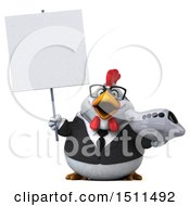 Clipart Of A 3d Chubby White Business Chicken Holding A Plane On A White Background Royalty Free Illustration