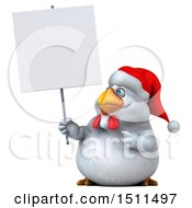Clipart Of A 3d Chubby White Christmas Chicken Holding Up A Sign On A White Background Royalty Free Illustration
