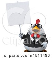 Clipart Of A 3d Chubby White Business Chicken Holding A Sign On A White Background Royalty Free Illustration