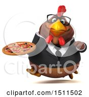 Clipart Of A 3d Chubby Brown Business Chicken Holding A Pizza On A White Background Royalty Free Illustration