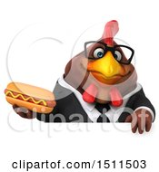 Clipart Of A 3d Chubby Brown Business Chicken Holding A Hot Dog On A White Background Royalty Free Illustration