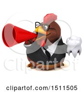 Clipart Of A 3d Chubby Brown Business Chicken Holding A Tooth On A White Background Royalty Free Illustration