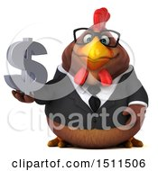 Clipart Of A 3d Chubby Brown Business Chicken Holding A Dollar Sign On A White Background Royalty Free Illustration