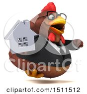Clipart Of A 3d Chubby Brown Business Chicken Holding A House On A White Background Royalty Free Illustration