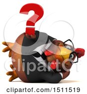 Clipart Of A 3d Chubby Brown Business Chicken Holding A Question Mark On A White Background Royalty Free Illustration