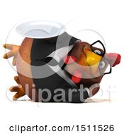 Clipart Of A 3d Chubby Brown Business Chicken Holding A Plate On A White Background Royalty Free Illustration