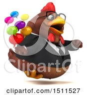 Clipart Of A 3d Chubby Brown Business Chicken Holding Messages On A White Background Royalty Free Illustration