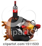 Clipart Of A 3d Chubby Brown Business Chicken Holding A Wine Bottle On A White Background Royalty Free Illustration