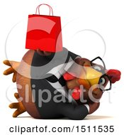 Clipart Of A 3d Chubby Brown Business Chicken Holding A Shopping Bag On A White Background Royalty Free Illustration