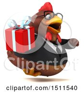Clipart Of A 3d Chubby Brown Business Chicken Holding A Gift On A White Background Royalty Free Illustration