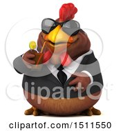 Clipart Of A 3d Chubby Brown Business Chicken Sipping A Cocktail On A White Background Royalty Free Illustration