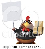 Clipart Of A 3d Chubby Brown Business Chicken Holding Boxes On A White Background Royalty Free Illustration