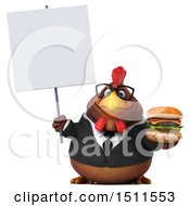Clipart Of A 3d Chubby Brown Business Chicken Holding A Burger On A White Background Royalty Free Illustration