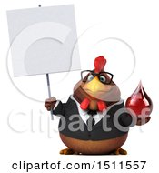 Clipart Of A 3d Chubby Brown Business Chicken Holding A  On A White Background Royalty Free Illustration
