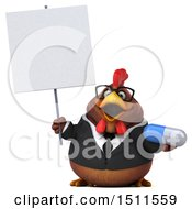 Clipart Of A 3d Chubby Brown Business Chicken Holding A Pill On A White Background Royalty Free Illustration
