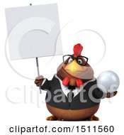 Clipart Of A 3d Chubby Brown Business Chicken Holding A Golf Ball On A White Background Royalty Free Illustration